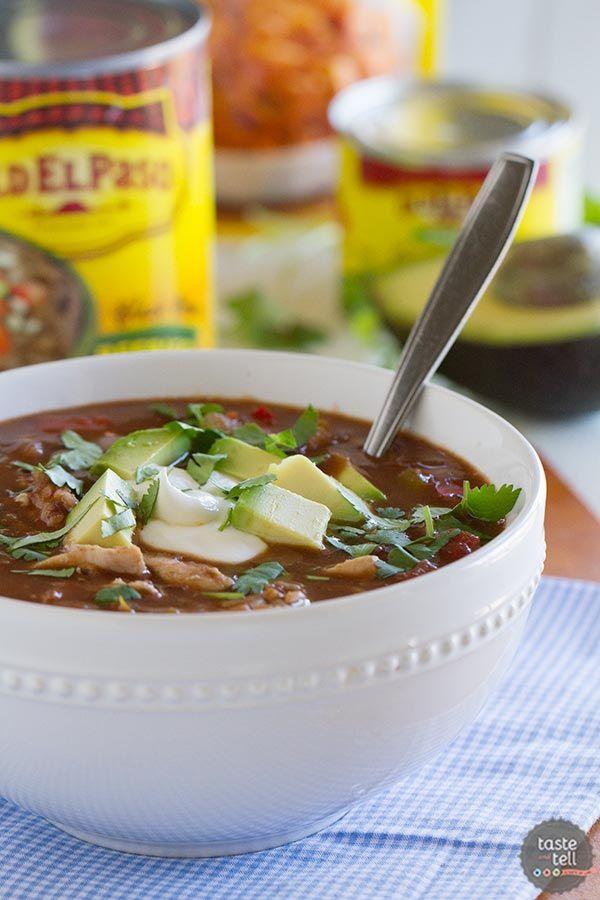 Southwestern Chicken and Rice Soup recipe on www.tasteandtellblog.com