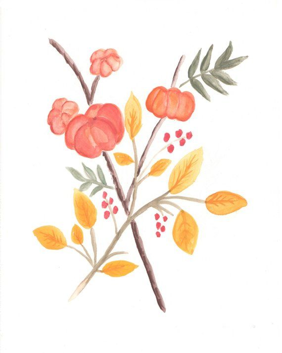 Fall Botanical With Mini Pumpkins On A Stick Watercolor