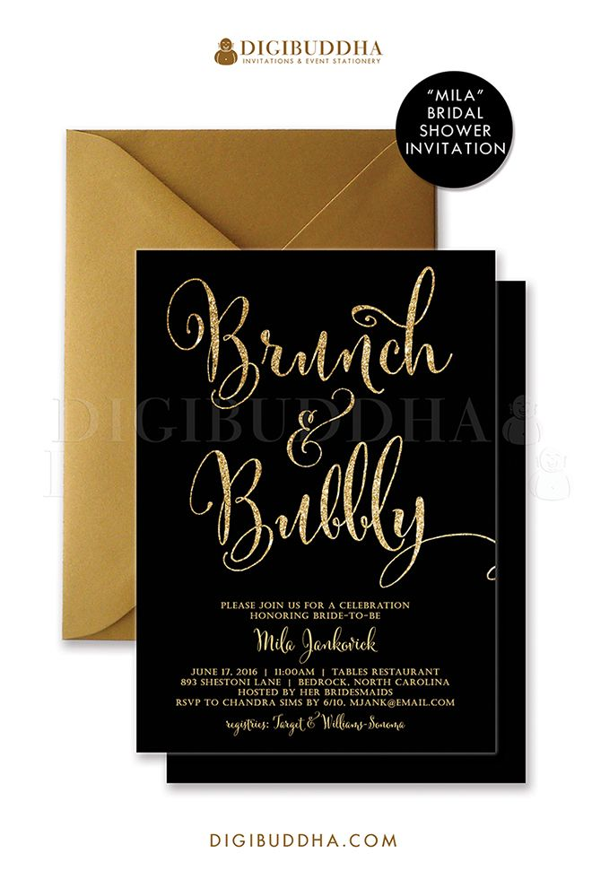 Brunch bubbly invitation bridal shower invite black and for Black and gold wedding shower invitations