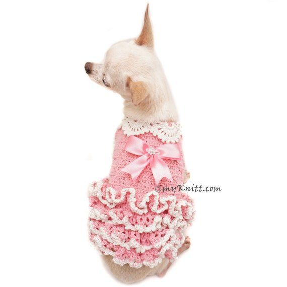Pink Dog Dress Crochet Ruffle Dress Tiny Dog Dress Dog Dresses