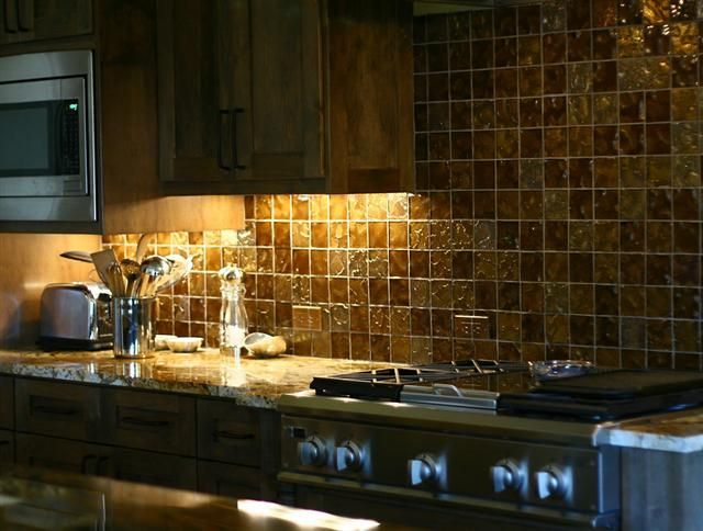 kitchen with glass tile backsplash i like the idea of a gold backsplash in a coral 8750