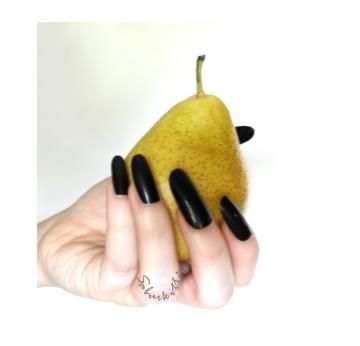 Almond Style Nails Art Blanks Long Black oval new artificial nails with glue by SaburKitty for $6.00