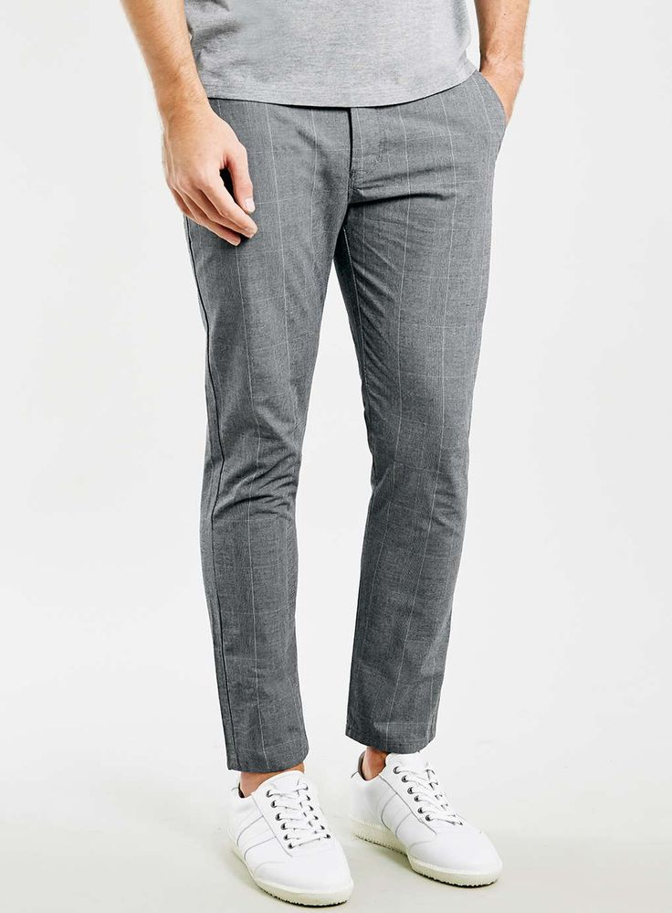 Photo 1 of Grey Checked Cropped Stretch Skinny Chinos