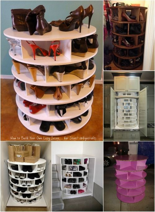 This requires cutting wood, hammering, gluing etc., so you need to feel comfortable with these tools - or find someone else who is! But it's a great idea... How to Build Your Own Lazy Susan… for Shoes! Hold about 30 in the compartments and maybe a few purses on top.