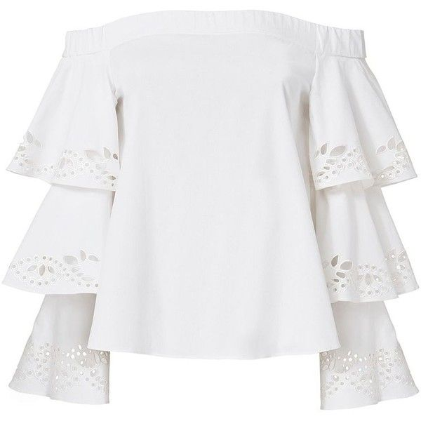 Intermix Women's Jiho Off Shoulder Tiered Sleeve Top (3.875 ARS) ❤ liked on Polyvore featuring tops, blouses, shirts, white, long sleeve tops, long sleeve blouse, white off shoulder blouse, white long sleeve blouse and ruffle sleeve shirt