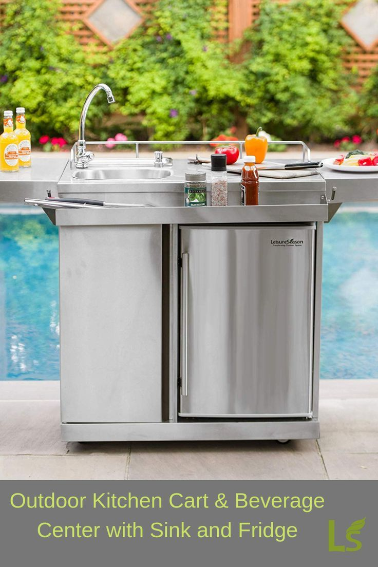 Outdoor Kitchen Cart With Fridge And Sink Includes Condiment Tray And Four Swivel Brake Caste Outdoor Kitchen Design Outdoor Kitchen Outdoor Kitchen Appliances