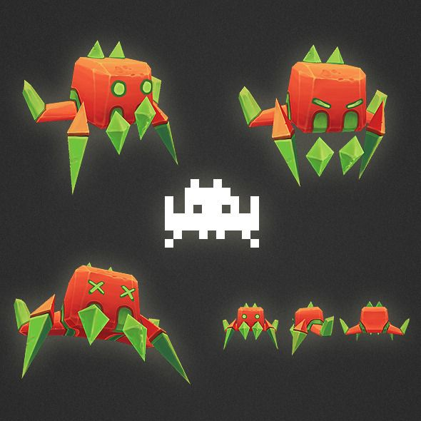 Low Poly Space Invader Set Space Art Projects Space Invaders Low Poly
