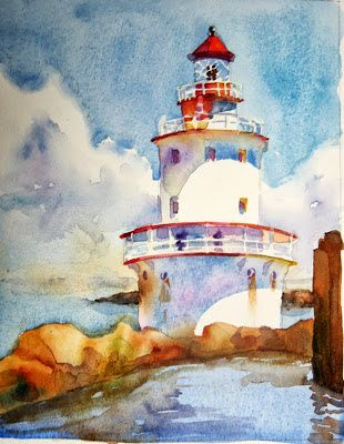 Laura's watercolors: finished Brandywine #Lighthouse    http://www.roanokemyhomesweethome.com