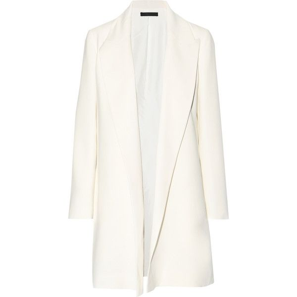 The Row Russo stretch-cady blazer (23.136.400 IDR) ❤ liked on Polyvore featuring outerwear, jackets, blazers, coats, coats & jackets, stretch jacket, white blazer, blazer jacket, open front blazer and stretch blazer