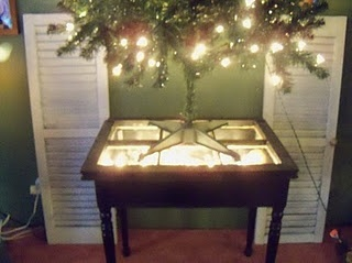 Table With Old Window & Christmas Lights