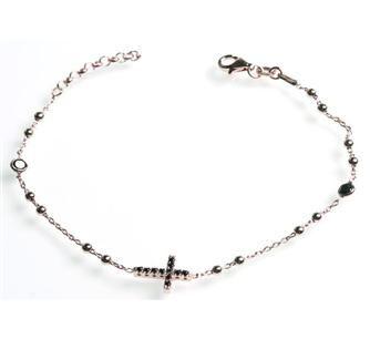 AG925 Rosè - Bracciale-rosario con C.Z. neri - BRACCIALI - Argento - GIOIELLI
