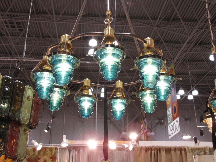 Chandelier With Electrical Insulators From Cake Vintage
