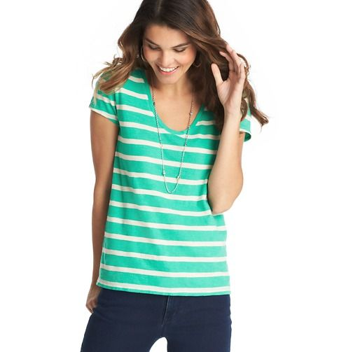 Loft - Striped Sunwashed Tee Like the depth and shape of the neckline