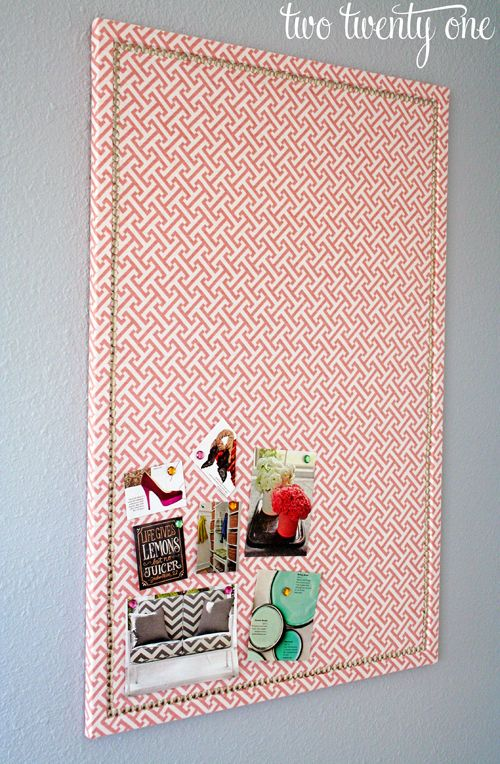 Instructions for making a fabric-covered nailhead trim bulletin board.  Just think of all the different things you could do with this.
