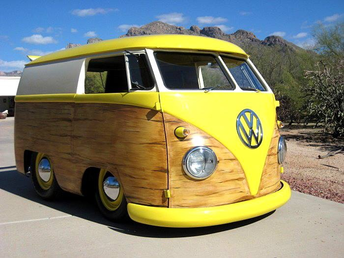yellow woody vw campervan nice set  wheels  cruising  beach scene funky rvs