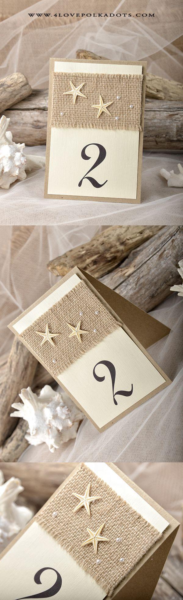 Beach Wedding Table Number Card #beachwedding #destinationwedding #starfish