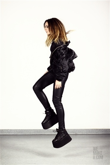 TOMBOY IS BLACK // PHOTOSHOOT // WEMAKEU.COM  //  http://wemakeu.com/2013/02/19/tomboy-is-black-photoshoot/    #tomboy #is #black #fullcap #leather #jacket #buffalo #socks #high #ac/dc #t-shirt #swimsuit