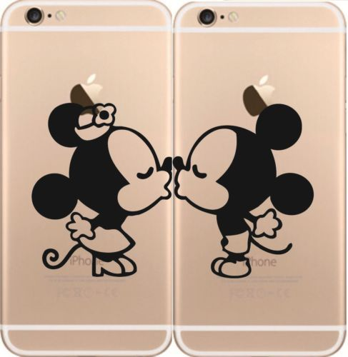 Iphone-5s-Iphone-6-Mickey-Minnie-Kiss-Love-Kisses-calcomania-Skin-Sticker-De-Vinilo-Negro
