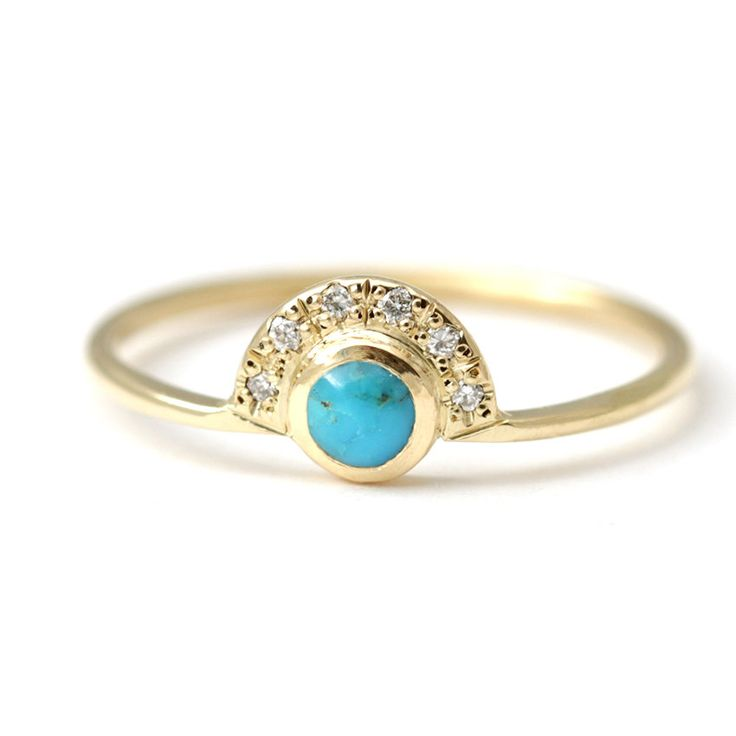 turquoise engagement ring with a pave diamonds crown 18k solid gold by artemer on etsy