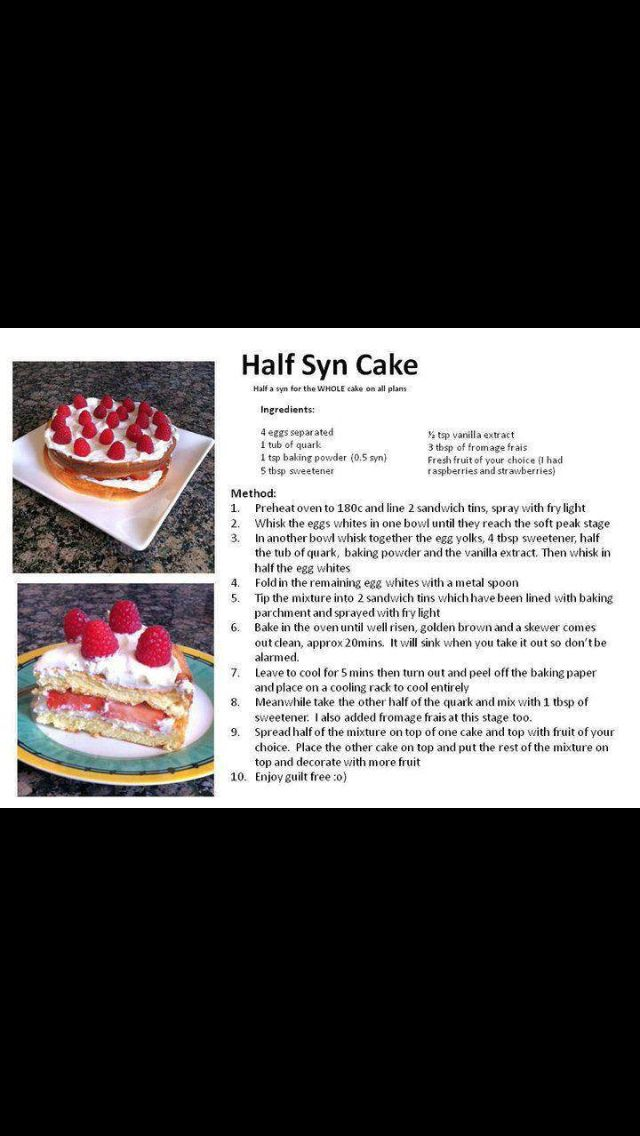 Half syn cake! Slimming world recipe...now this I HAVE to try Update - 1/12/15 - I was a bit disappointed with this. It tasted OK but was a very floppy texture. It would probably be quite good as the base of a trifle, Nell