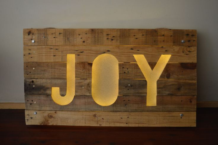 Christmas Wood Sign from Upcycled Wood Pallet.I placed a warm white colour LED Backlight.