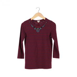 Red Striped Embellished T-Shirt