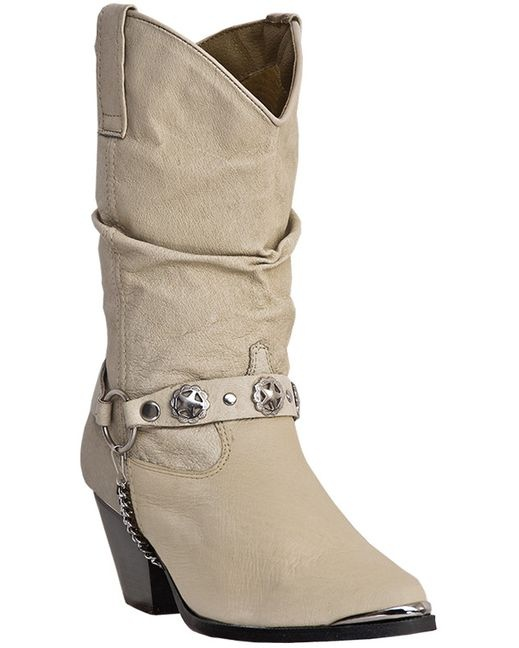 Really cute Tan (looks like Bone to me) short boot with silver colored studs on belt around boot & toe plate.