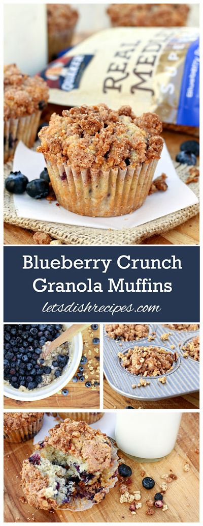 Blueberry Crunch Granola Muffins Recipe   Amazing blueberry muffins with a crunchy granola streusel topping. Perfect for breakfast or snacking! #GranolaMyWay [ad]