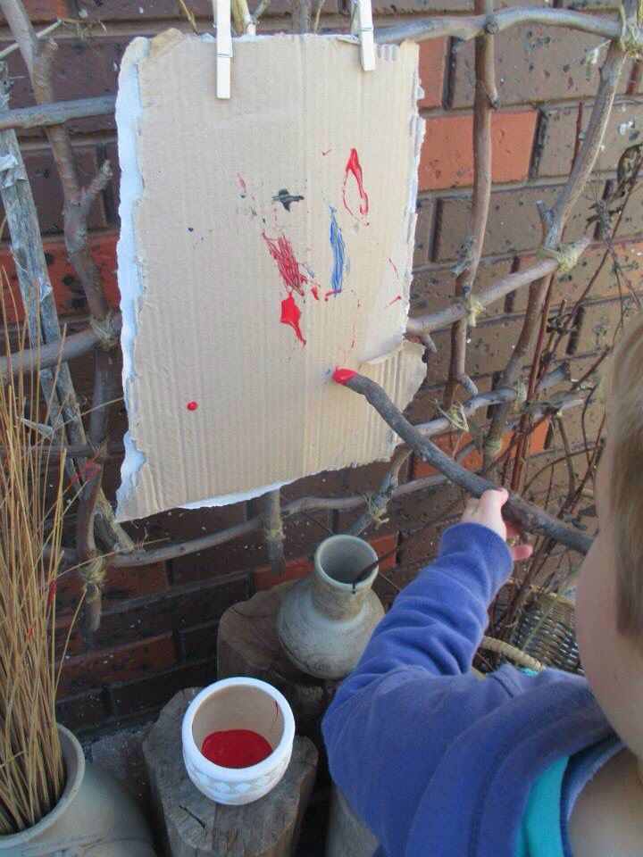 Creative painting with sticks, i could do the stick lattice thing