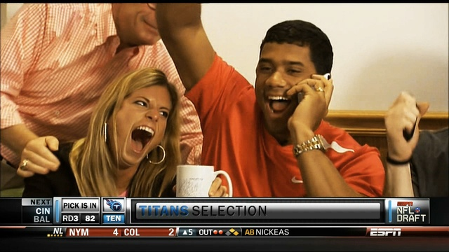 Russel Wilson's wife should be careful, my mom told me that making funny faces could get your face stuck like that
