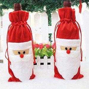 Coscelia 1pc Père Noël Sac Couvercle de Bouteille de Vin pour Table Soirée Xmas Decoration