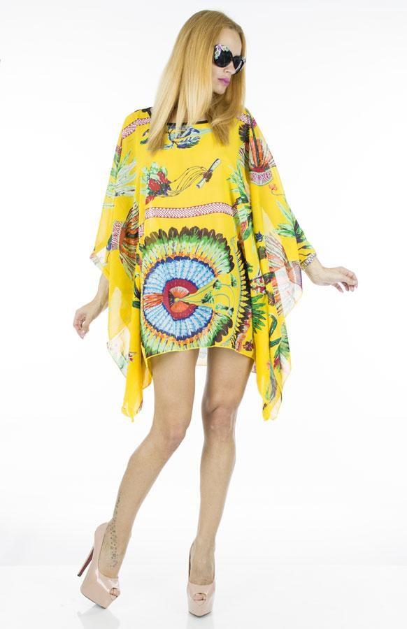 Bluza Dama Indian Style  Bluza dama fashion cu taietura asimetrica, ideala pentru sezonul cald.     Compozitie:100%Poliester