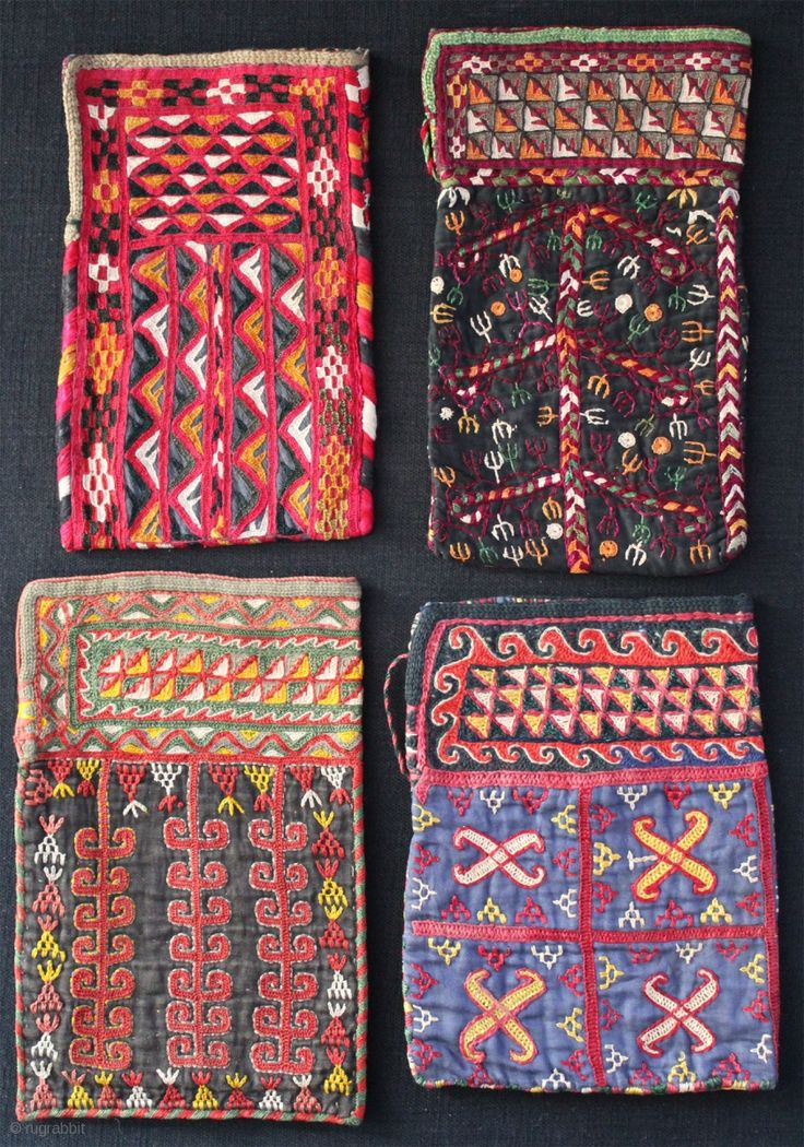 Turkmen Chodor small bags from Afghanistan. Both sides silk embroidery on  cotton. All in