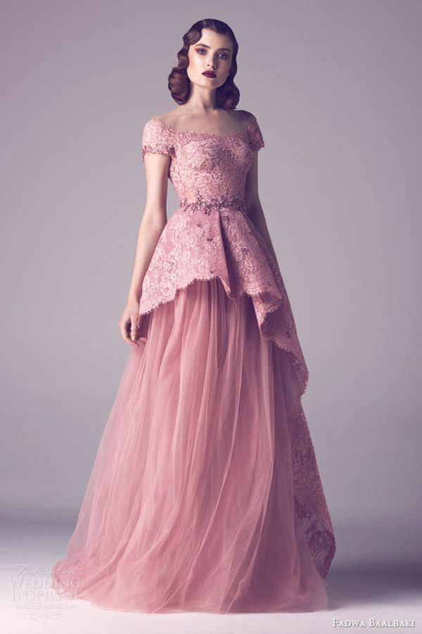 Ceremony Dress - Fadwa Baalbaki spring 2015 couture cap sleeve pink blush lace peplum bodice gown