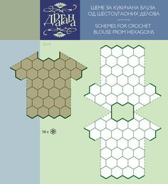 Crochet Hexagon Motifs Diagrams. For a top * schema tecnico per lavoro con piastrelle esagonali *