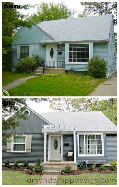 Before & After, Bungalow, Pergola above front door, slate, blue, charcoal painted exterior, gray roof, small porch, cedar shutters, curb appeal. visit amandarappdesign.com for more details!