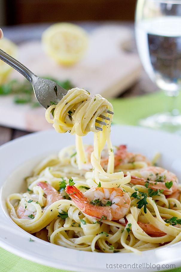 Lemon Pepper Shrimp Linguine   www.tasteandtellblog.com
