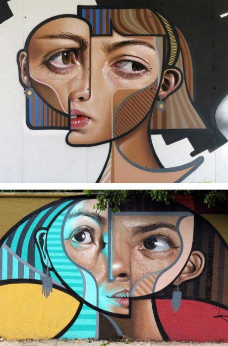 Kübist ve Gerçekçi Dünyaları Buluşturan Duvar Resimleri  #kubism #realism #hyperrealism #surrealism #art #painting #streetart #mural #kübizm #gerçekçilik #gerçeküstü #resim #sanat #sokaksanatı