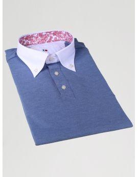 Polo camicia da uomo  Avion con il collo verde lime