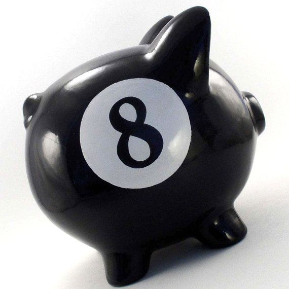 Personalized Piggy Bank - 8 Ball - with hole or NO hole in bottom