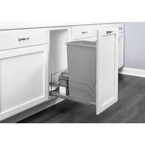 Rev-A-Shelf 18.9375 in. H x 10.875 in. W x 22.25 in. D Single 35 Qt. Pull-Out Silver Waste Container with Soft-Close Slides-53WC-1535SCDM-117 - The Home Depot