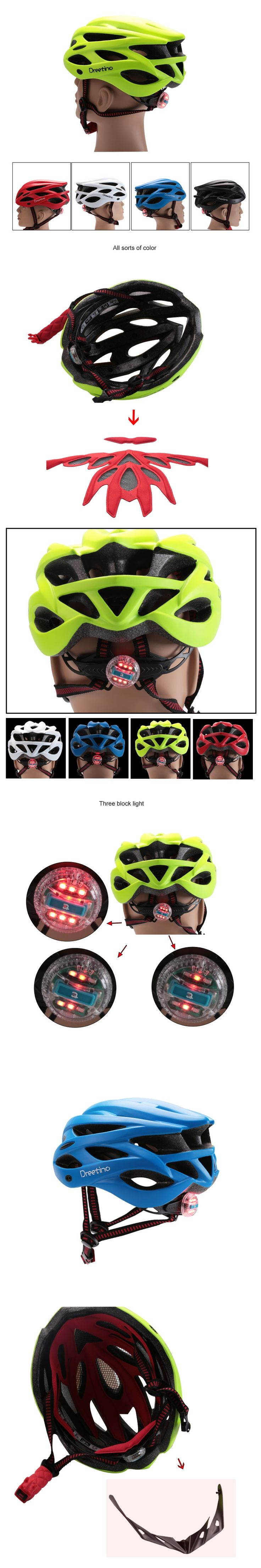 2017 Cycling Helmet with Light Bicycle Men Women Mountain Helmet Back Light Mountain Road Bike Integrally Molded Cycling Helmets