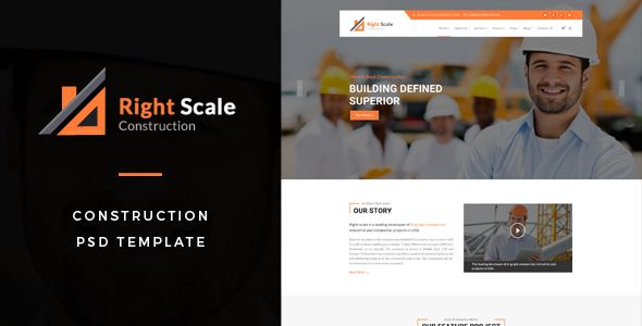 Rightscale : Construction PSD Template by TonaTheme Right Scale : Construction PSD Template suitable for all types of Construction Business. That Includes totally 13 Pages. Pages 01-Homepage-01.psd02-Homepage-02.psd03-About.psd04-Services.psd05-Project-01.psd06-Project-02.psd07-Pro