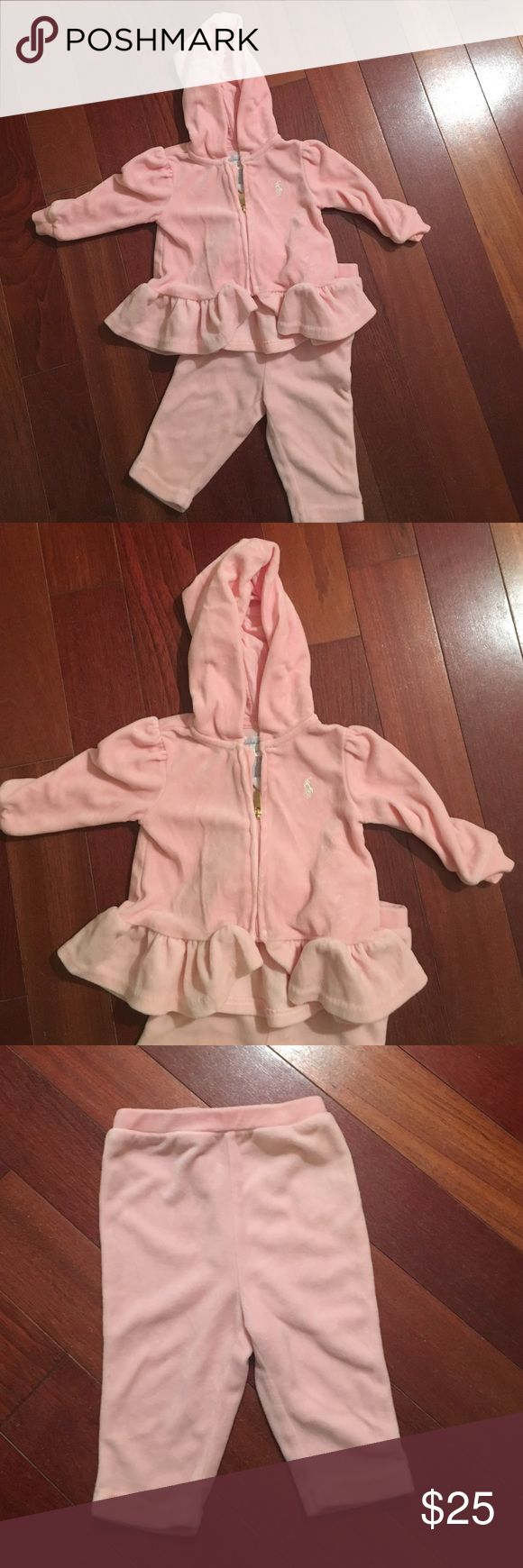 Velour jumpsuit for stylish baby girl Practically new. Velour set with hoodie Ralph Lauren Matching Sets