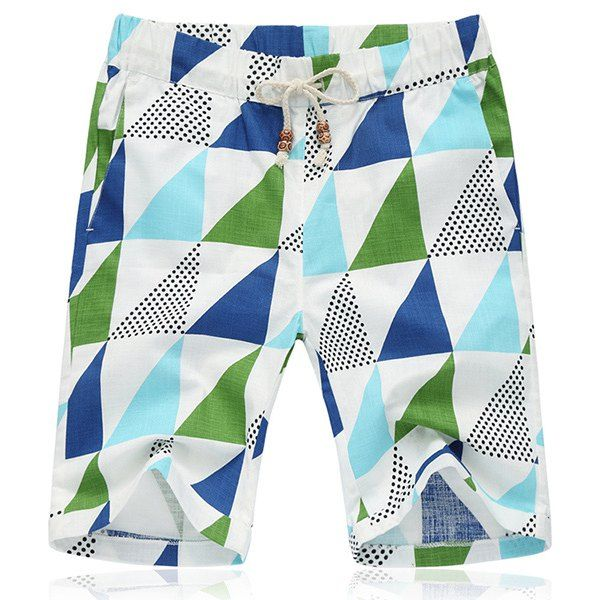Lace Up Loose Fifth Pants Triangle Printing Beach Shorts For Men #women, #men, #hats, #watches, #belts, #fashion, #style