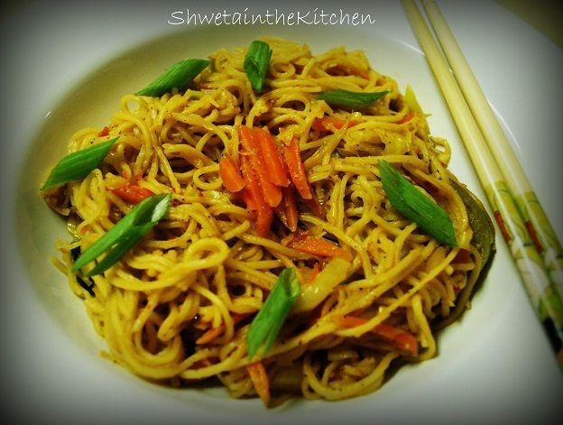 Chilli Garlic Noodles  Garnish with some spring onion greens & serve hot!!