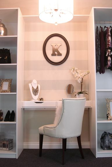 """Vanity Space in bathroom with ikea """"closets"""" on either side"""