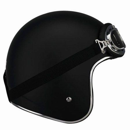 LS-2 Helmets: OF583 Bobber helmet in Matter Black with goggles.