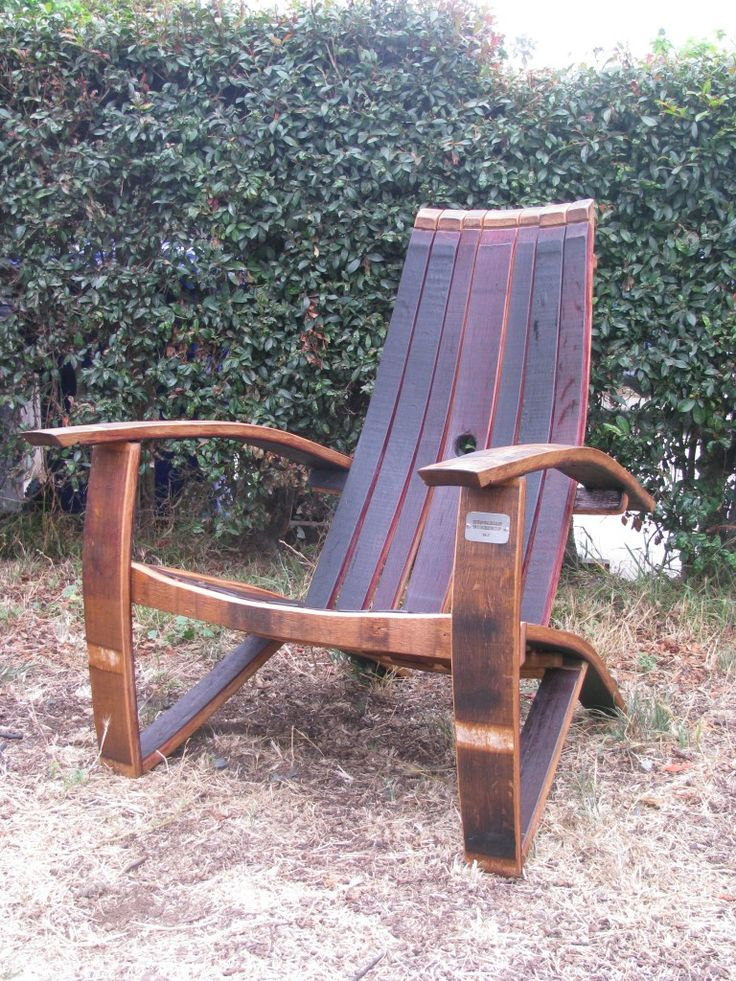 Adirondack chairs made from old wine and whiskey barrels, by Hungarian Workshop