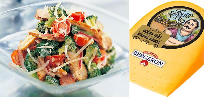 Salade de brocoli croquant au poulet et au fromage Louis Cyr @fromagerieb #fromagedici #gouda